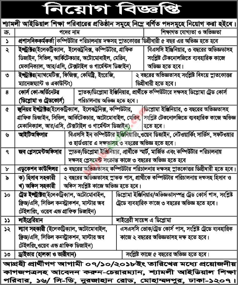 Shyamoli Ideal Shikkha Poribar Job Circular