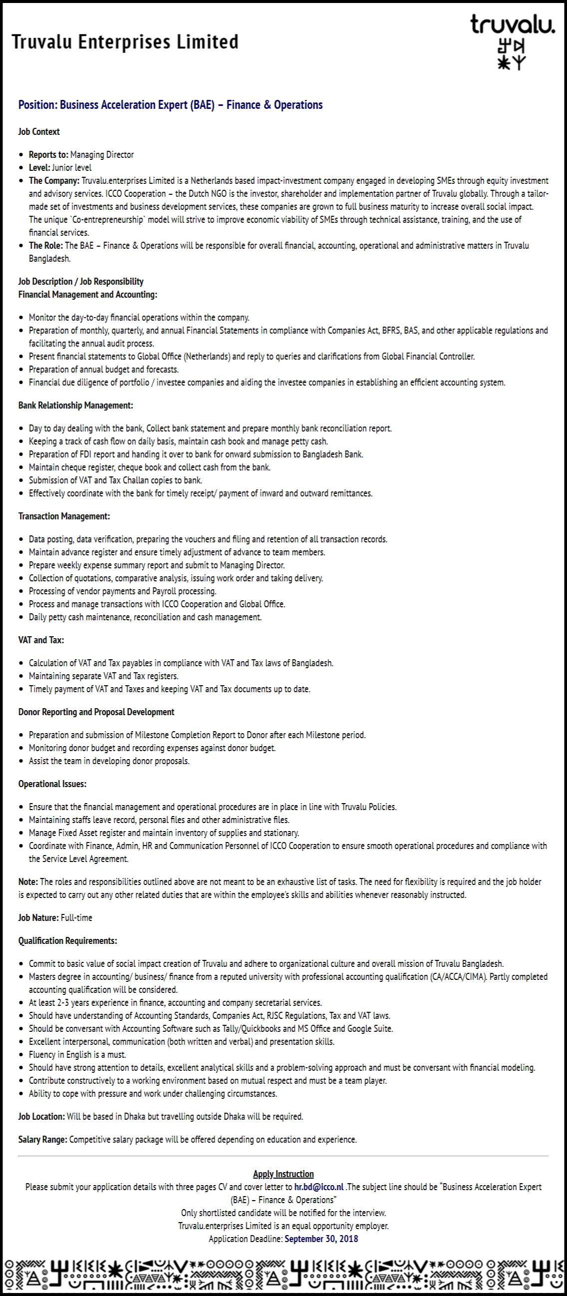 Truvalu Enterprises Ltd Job Circular