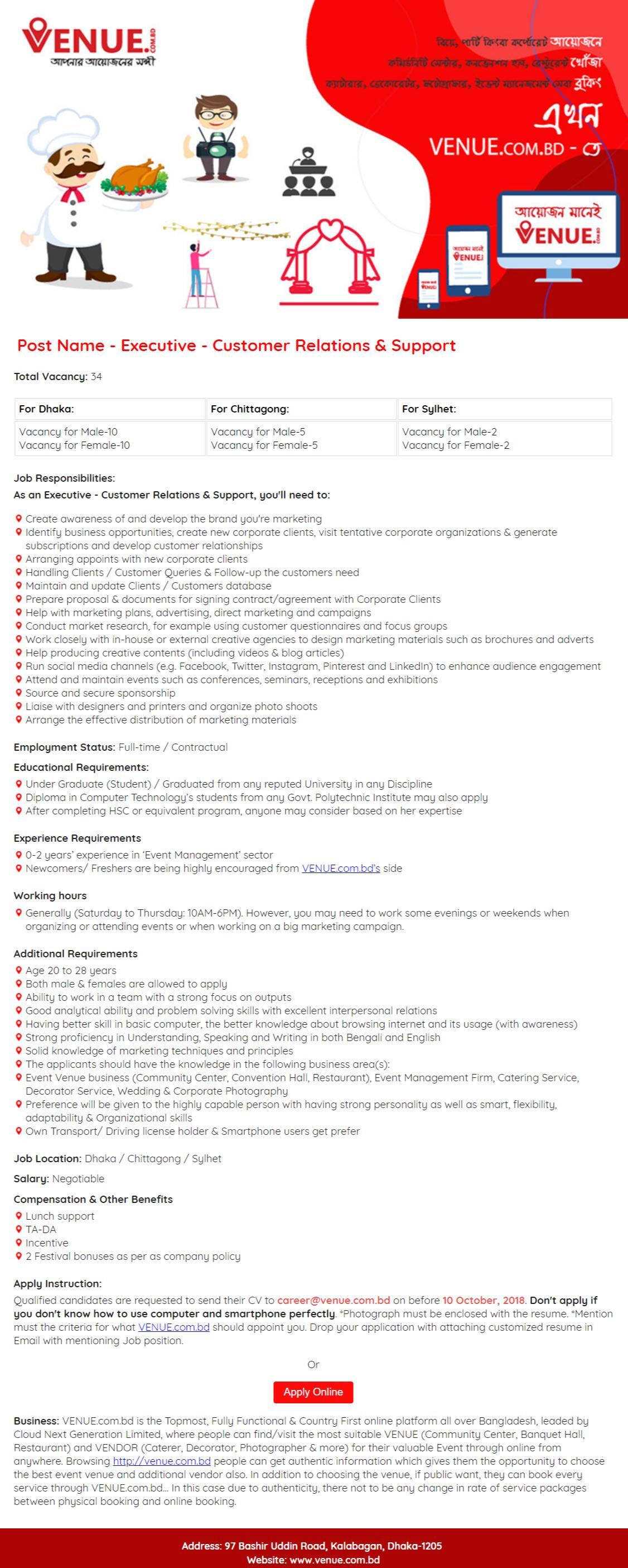 VENUE.com.bd Job Circular