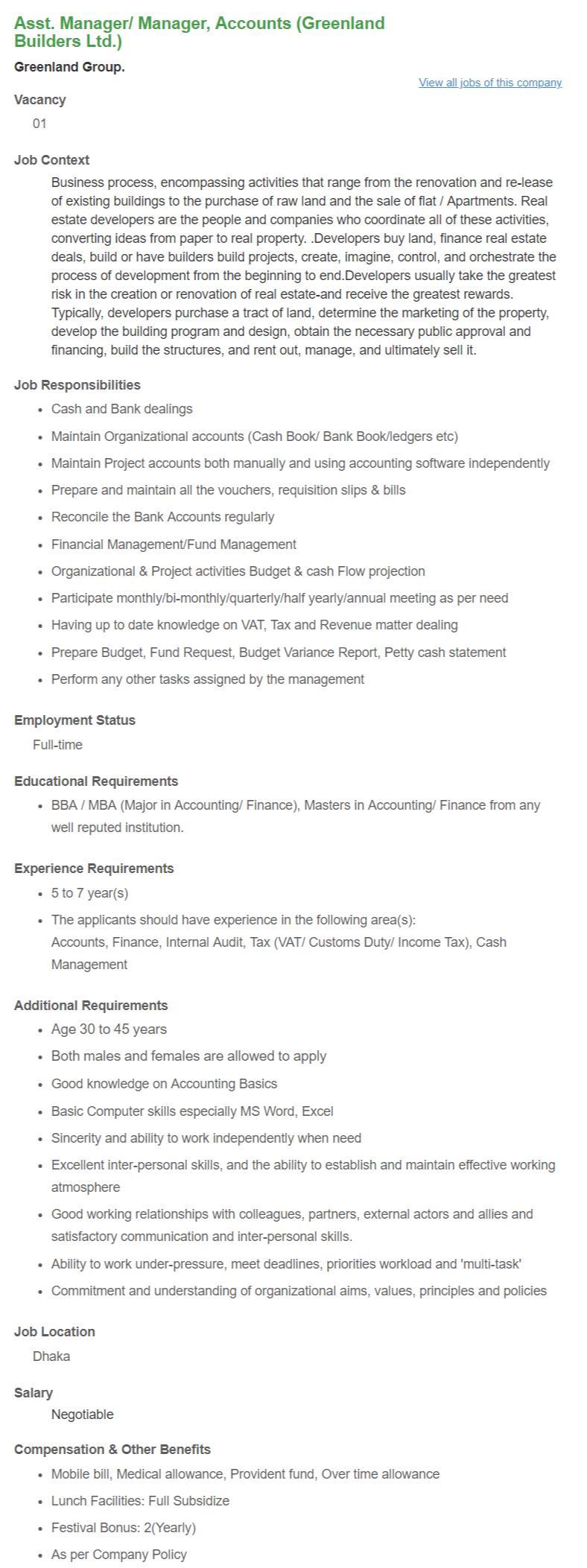 Asst Manager_ Manager, Accounts (Greenland Builders Ltd.) _ Greenland Group. __ Bdjobs.com