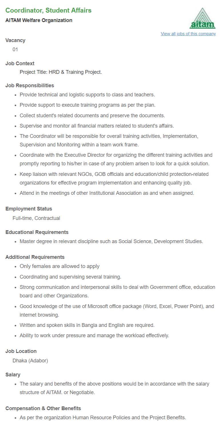 AITAM Welfare Organization Job Circular