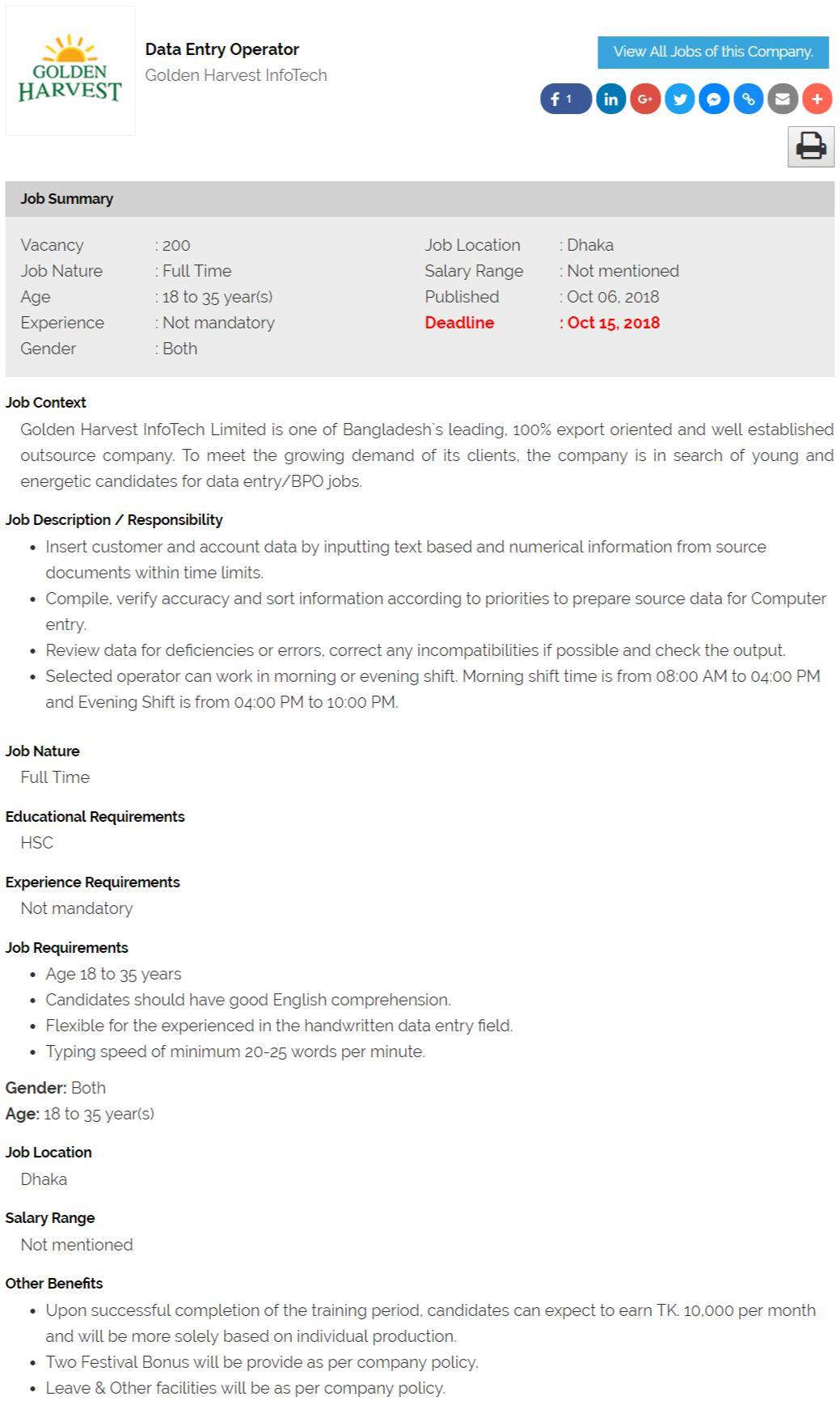 Golden Harvest InfoTech Job Circular - Data Entry Operator