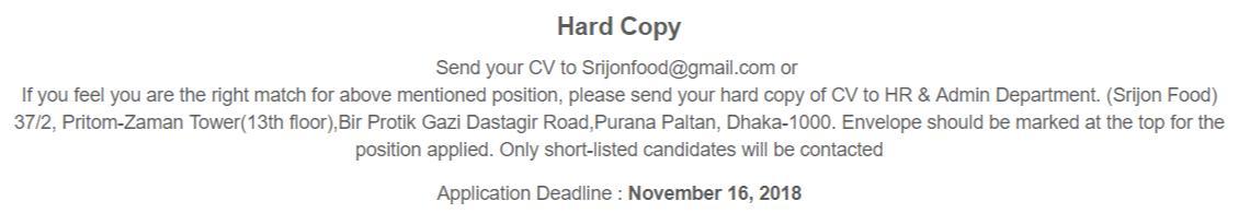 Srijon Food & Beverage Ltd Job Circular