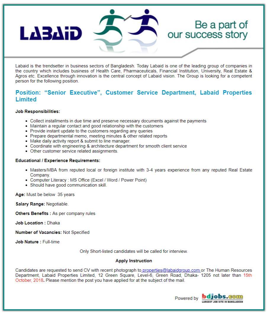 Labaid Properties Limited Job Circular