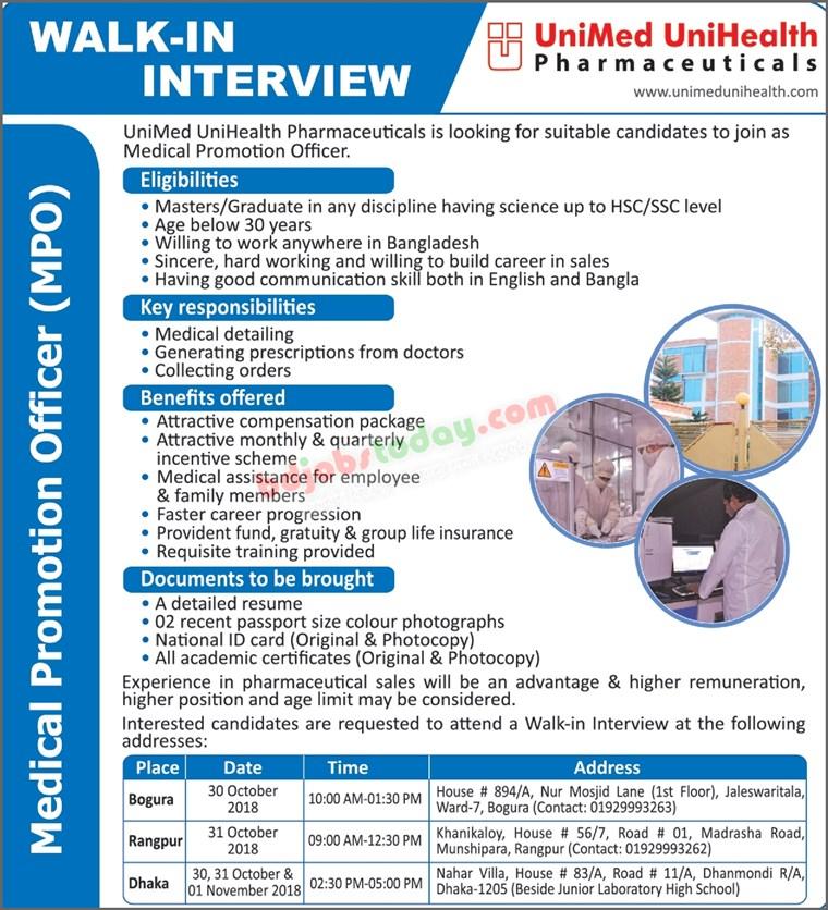 Prothom Alo Job Chakri Bakri 26-10-2018 UniMed UniHealth Pharmaceuticals