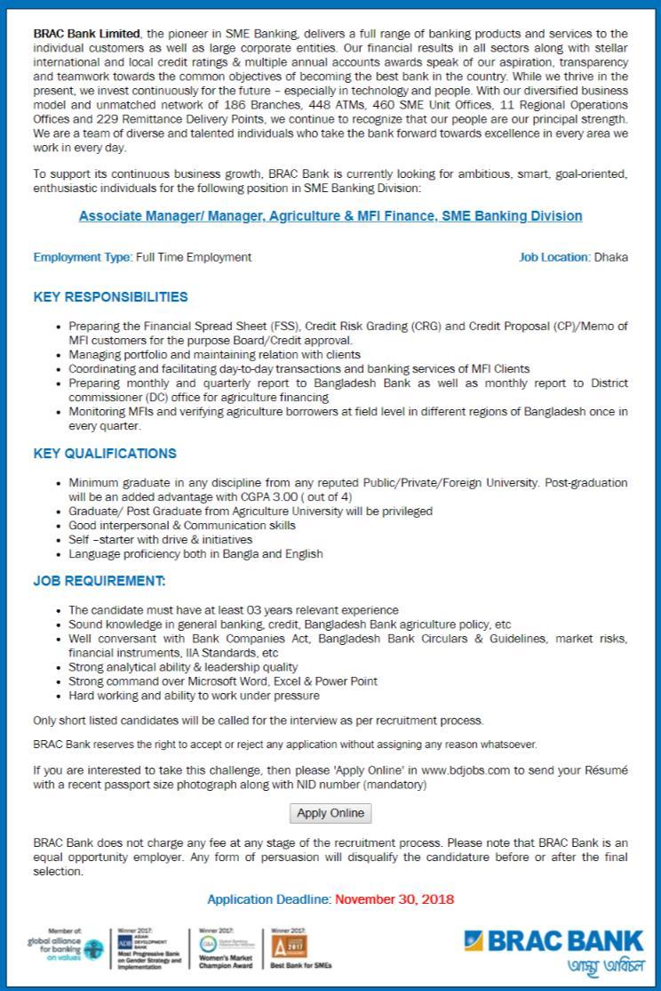 BRAC Bank Limited Job Circular