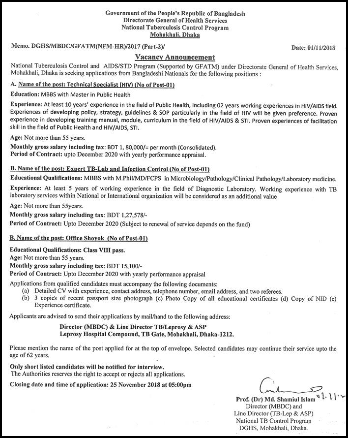 NTP Job Circular -ntp.gov.bd
