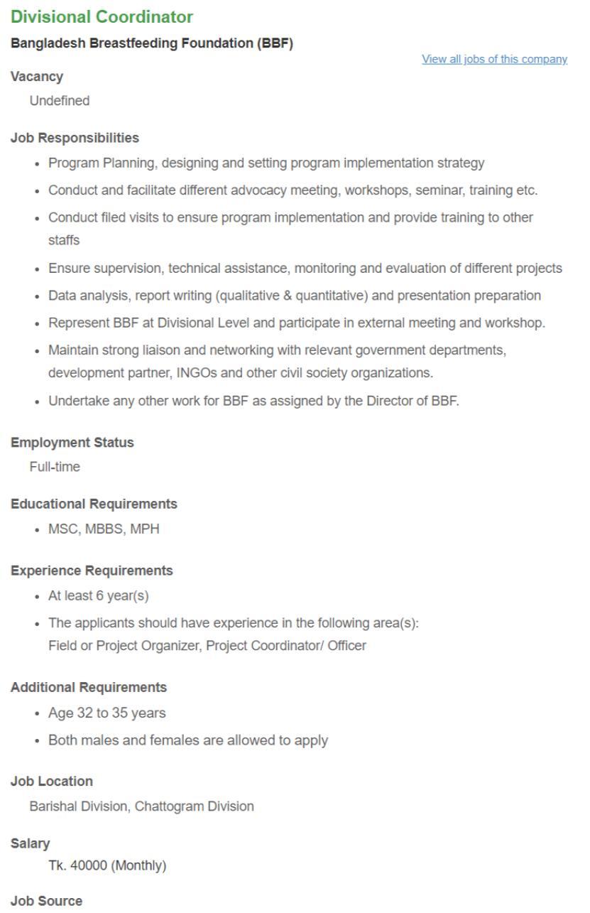 BBF Job circular