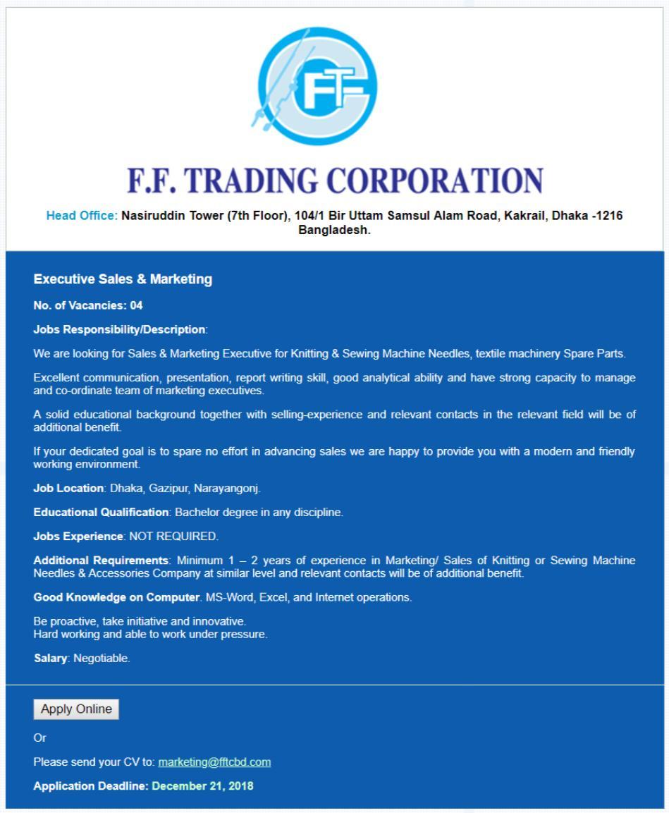 F.F. Trading Corporation Job Circular