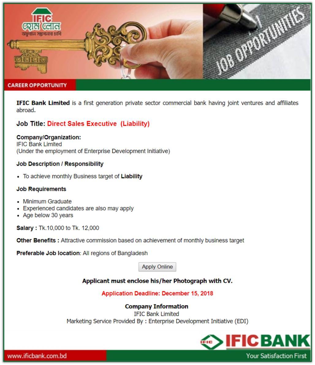 The IFIC Bank Limited Job Circular