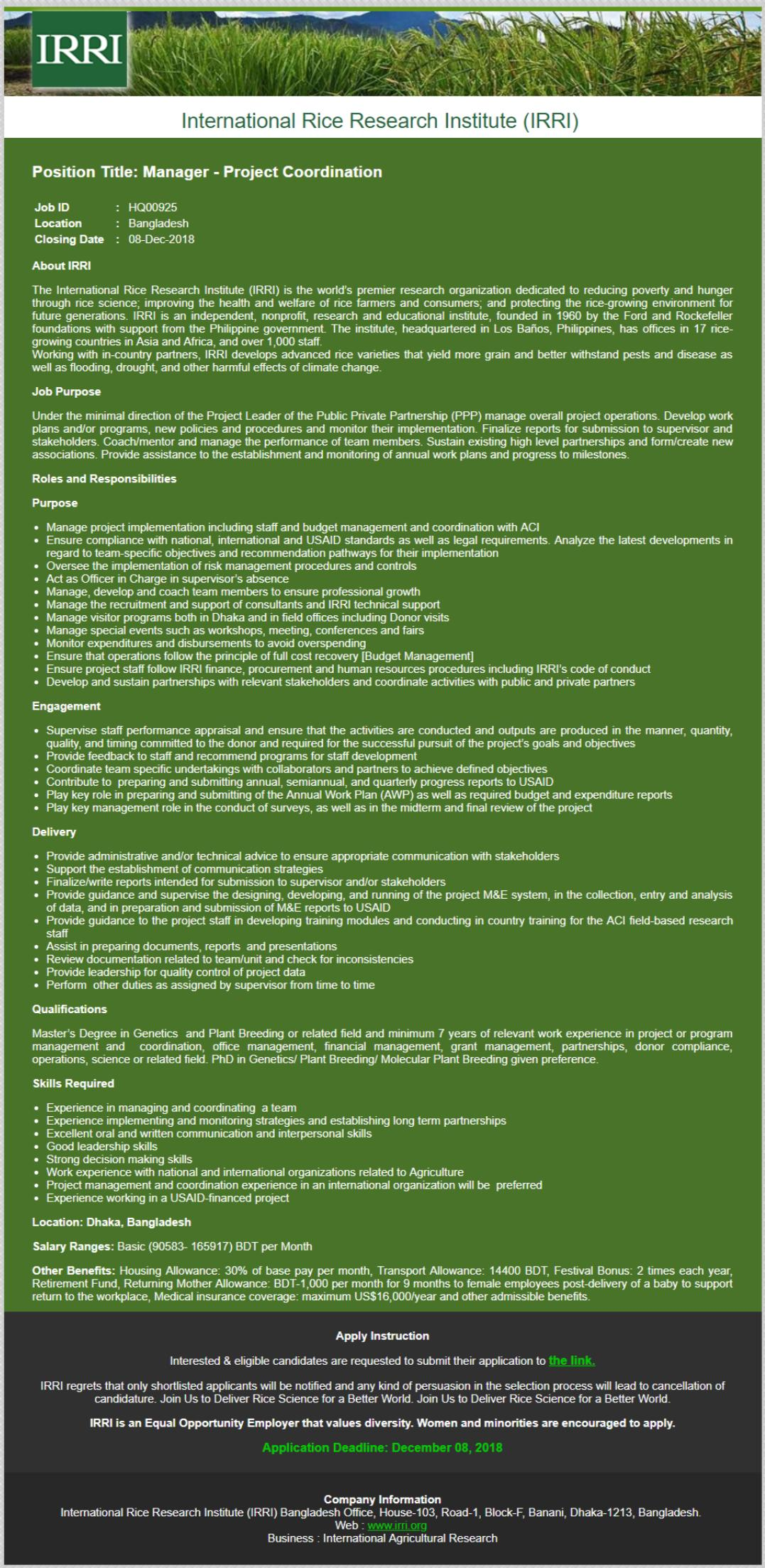 IRRI job circular in 2018