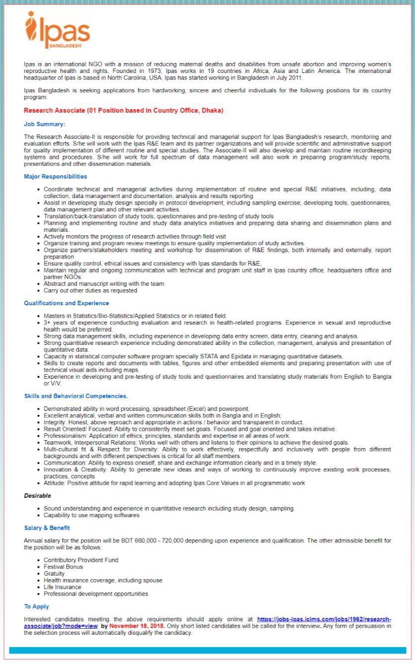 Ipas Bangladesh Job Circular