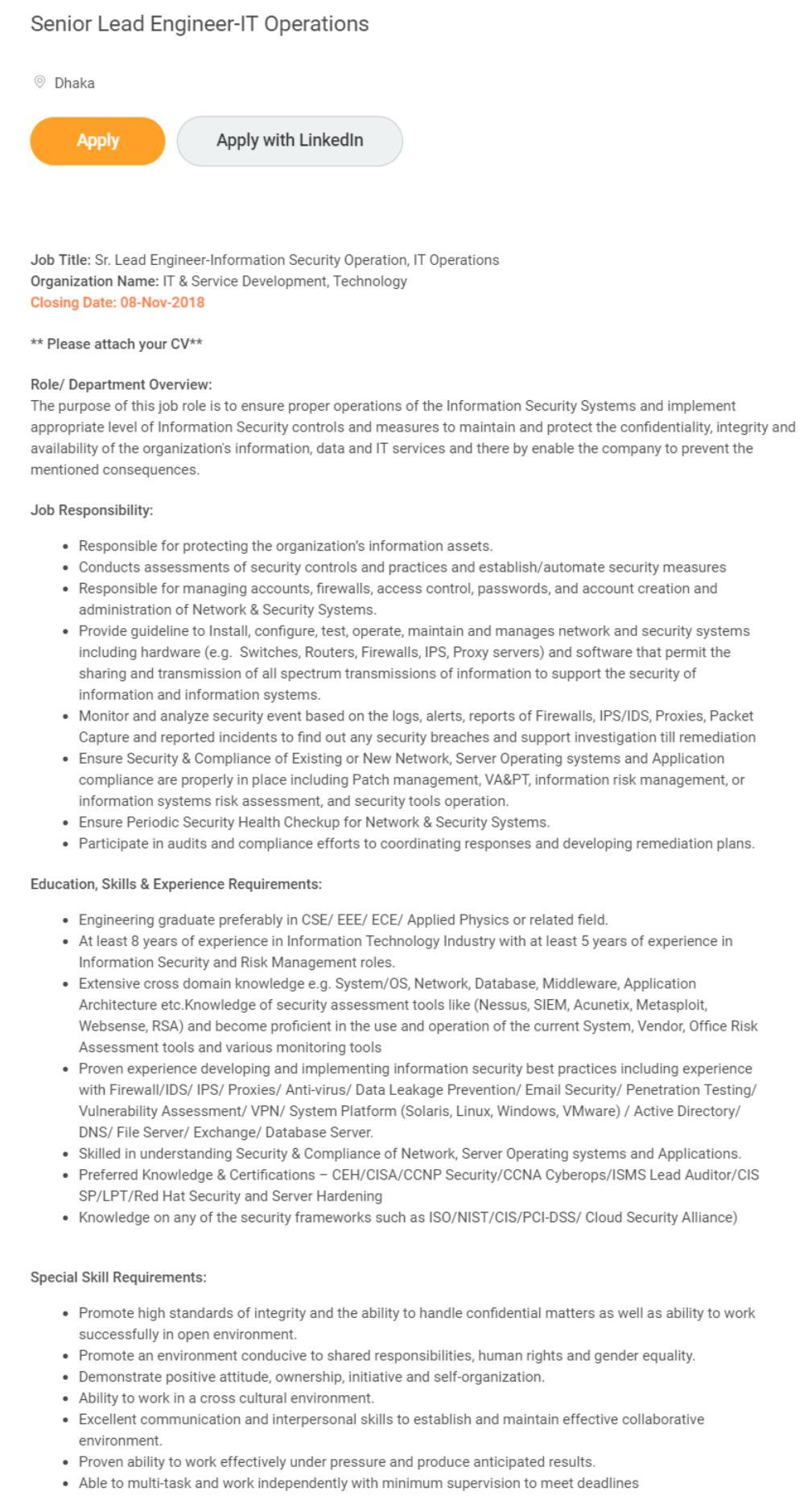Grameenphone Job Circular 2018