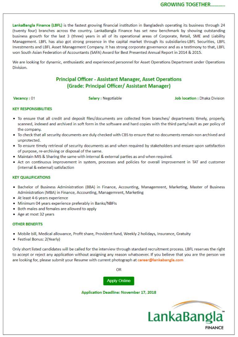 LankaBangla Finance Limited See LankaBangla Finance Ltd Job Circular