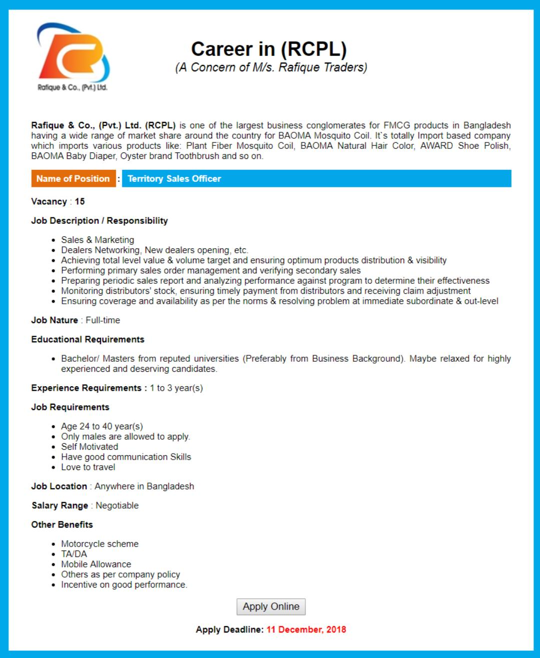 Rafique & Co. RCPL Job Circular