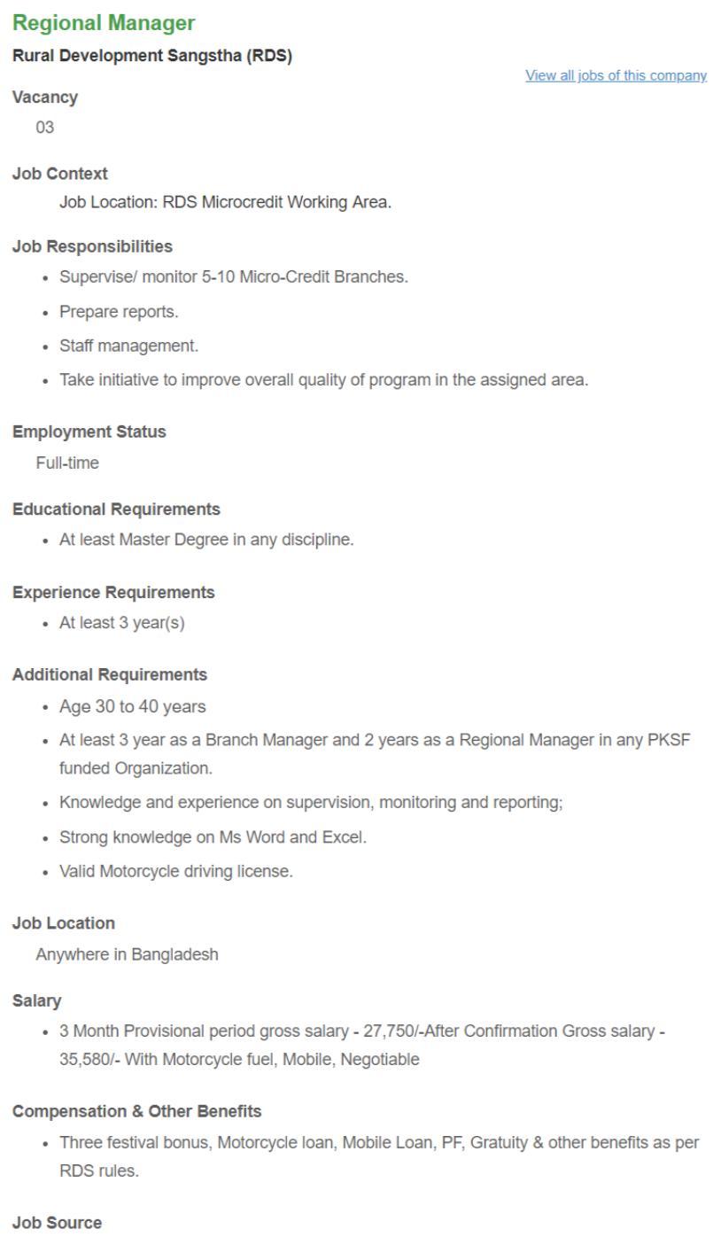Regional Manager _ Rural Development Sangstha (RDS) __ Bdjobs com
