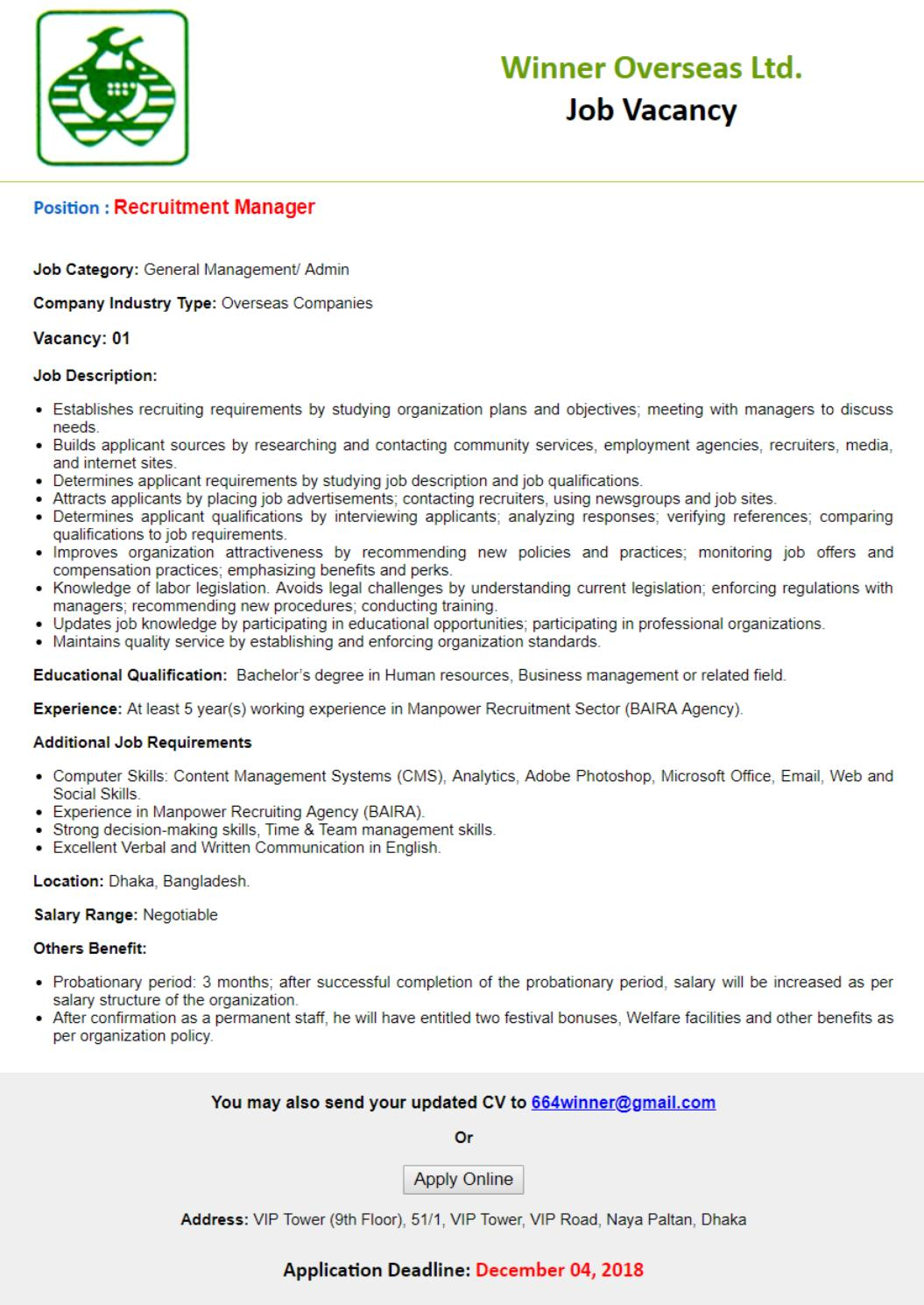 Winner Overseas Ltd Job Circular