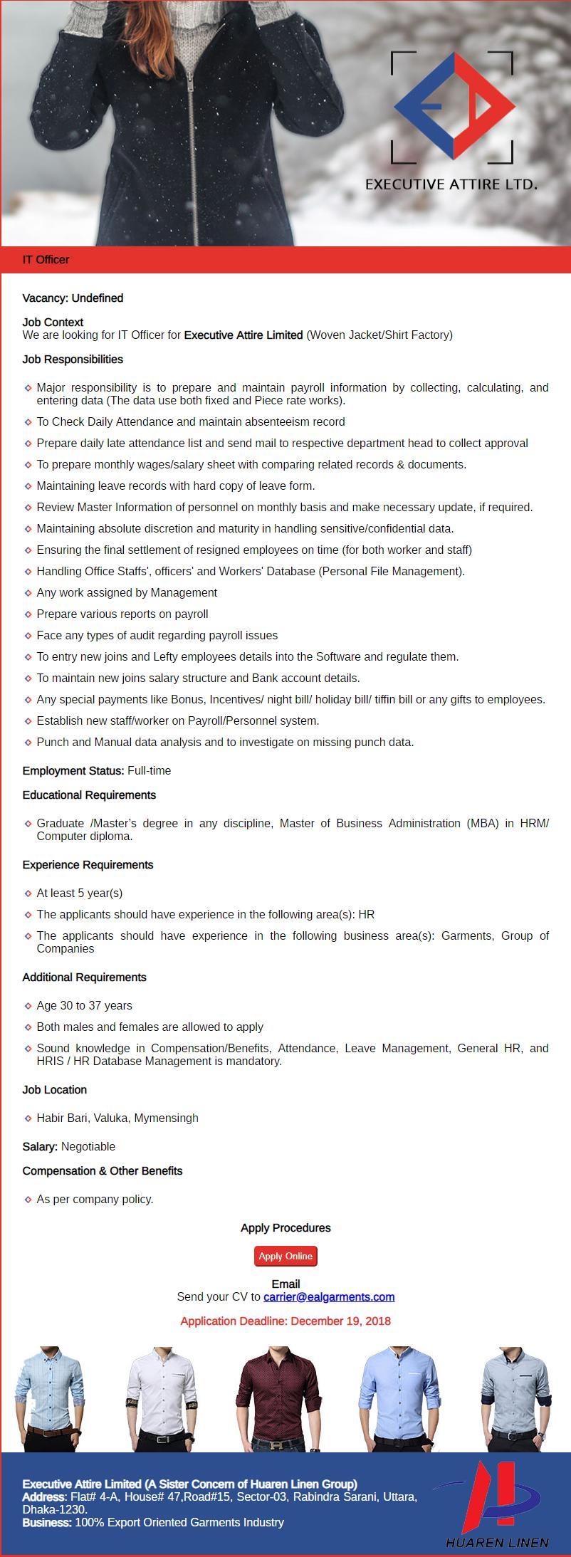 Executive Attire Ltd Job Circular 2018