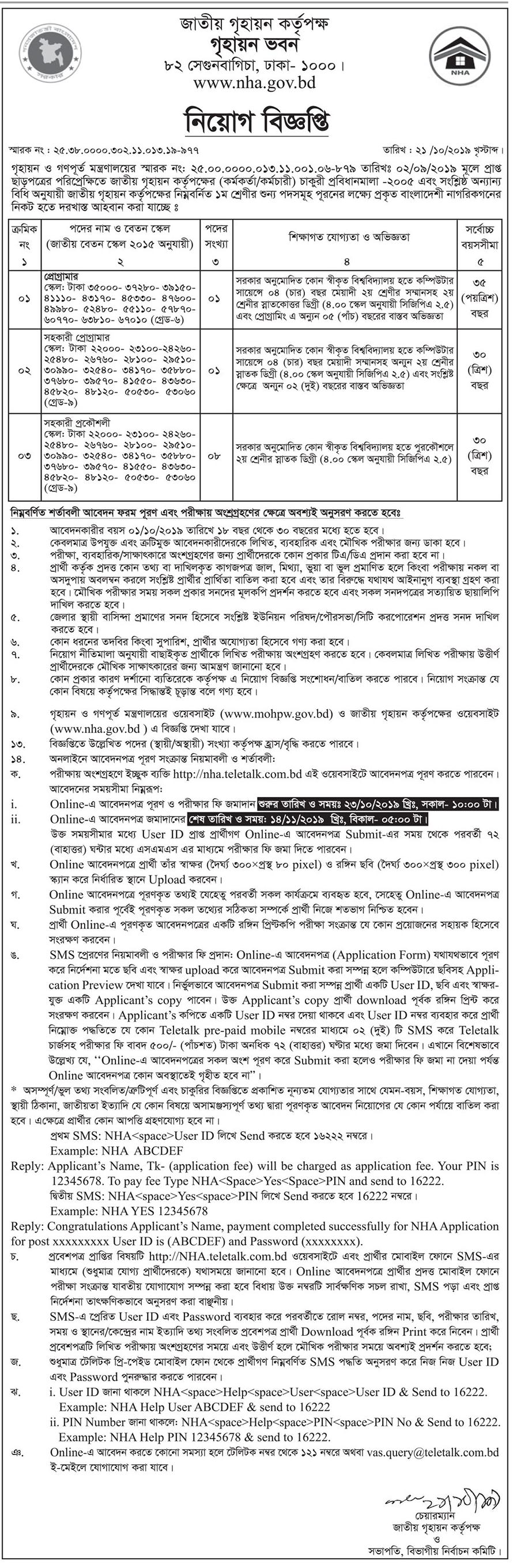 NHA Teletalk Apply, Admit Card 2019 - nha.teletalk.com.bd
