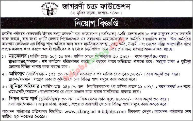JCF Job Circular 2019 -www.jcf.org.bd