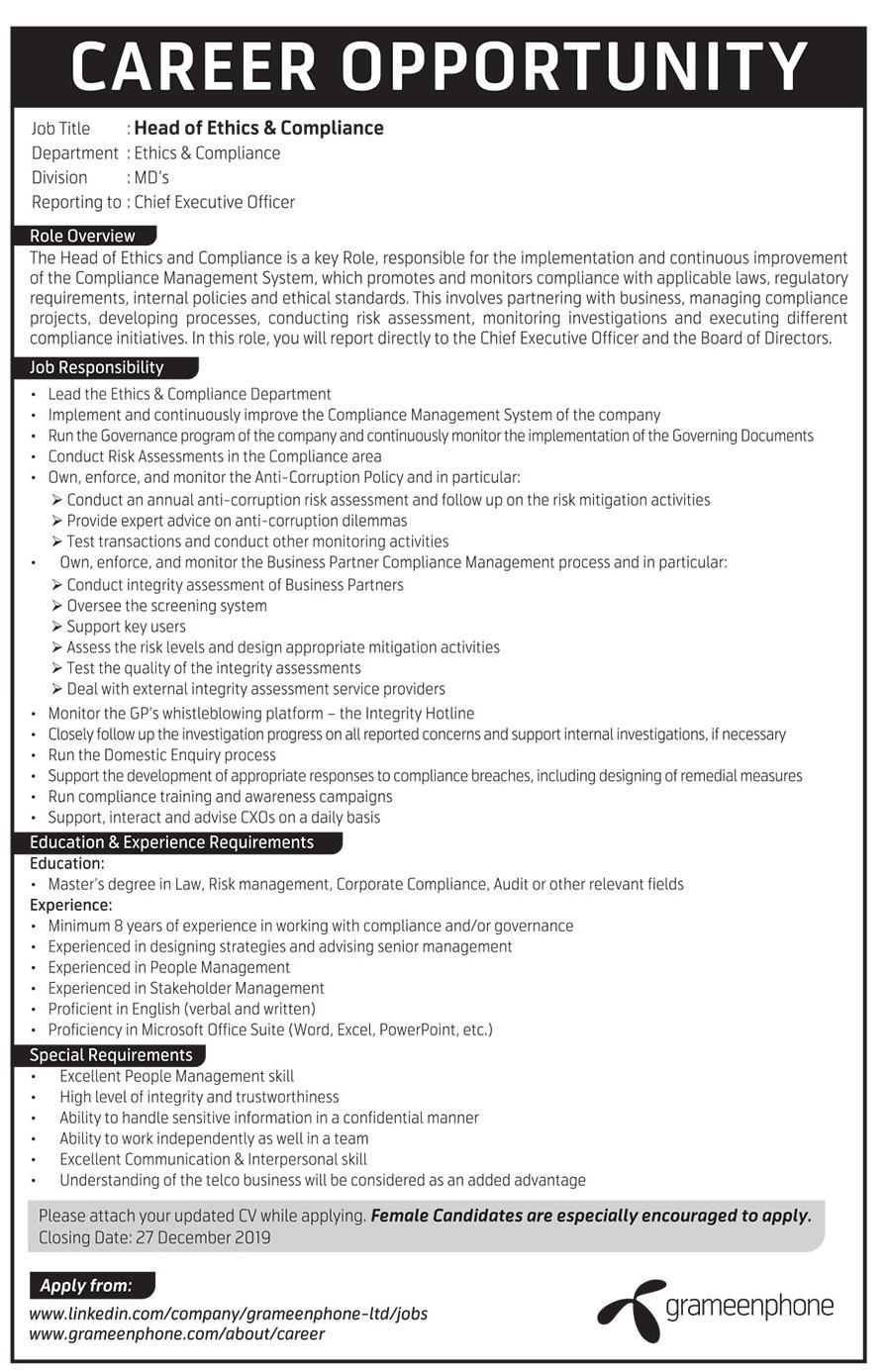 Grameenphone Job Circular 2019