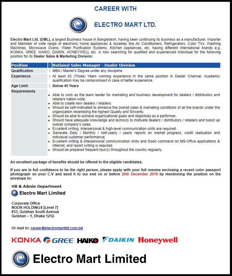 Electro Mart Ltd Job Circular