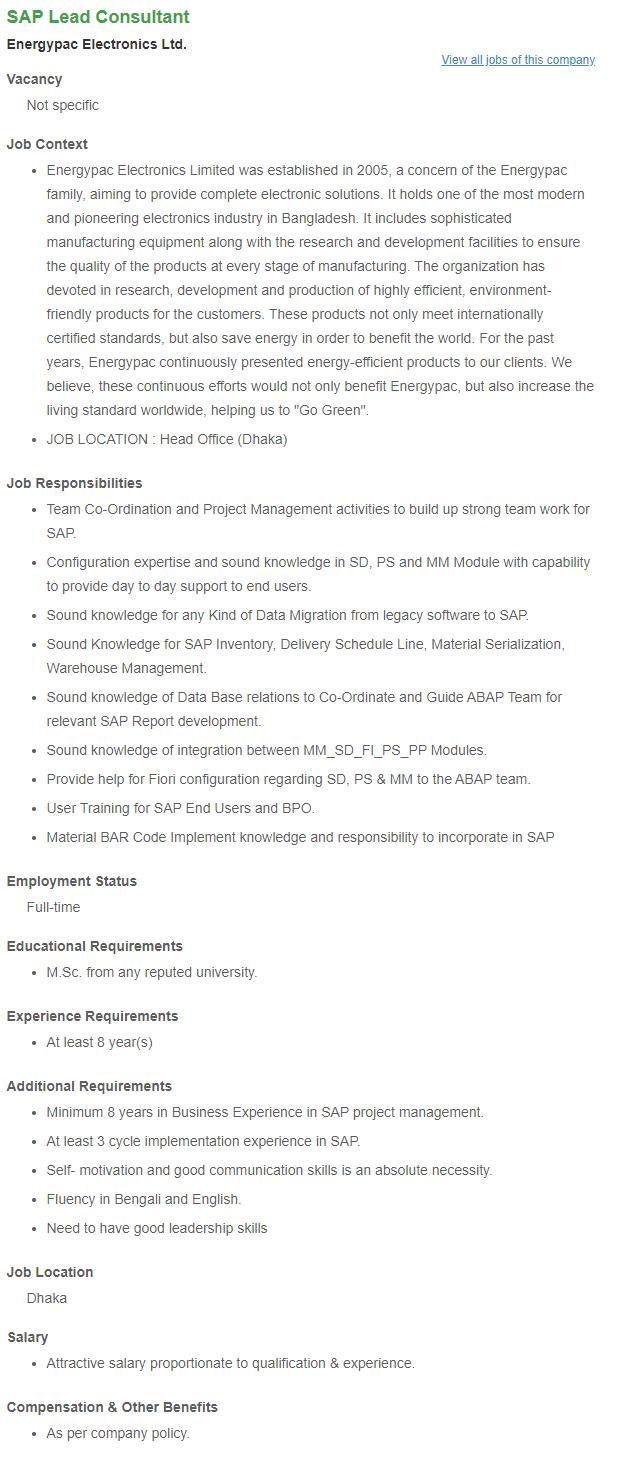 SAP Lead Consultant _ Energypac Electronics Ltd __ Bdjobs.com