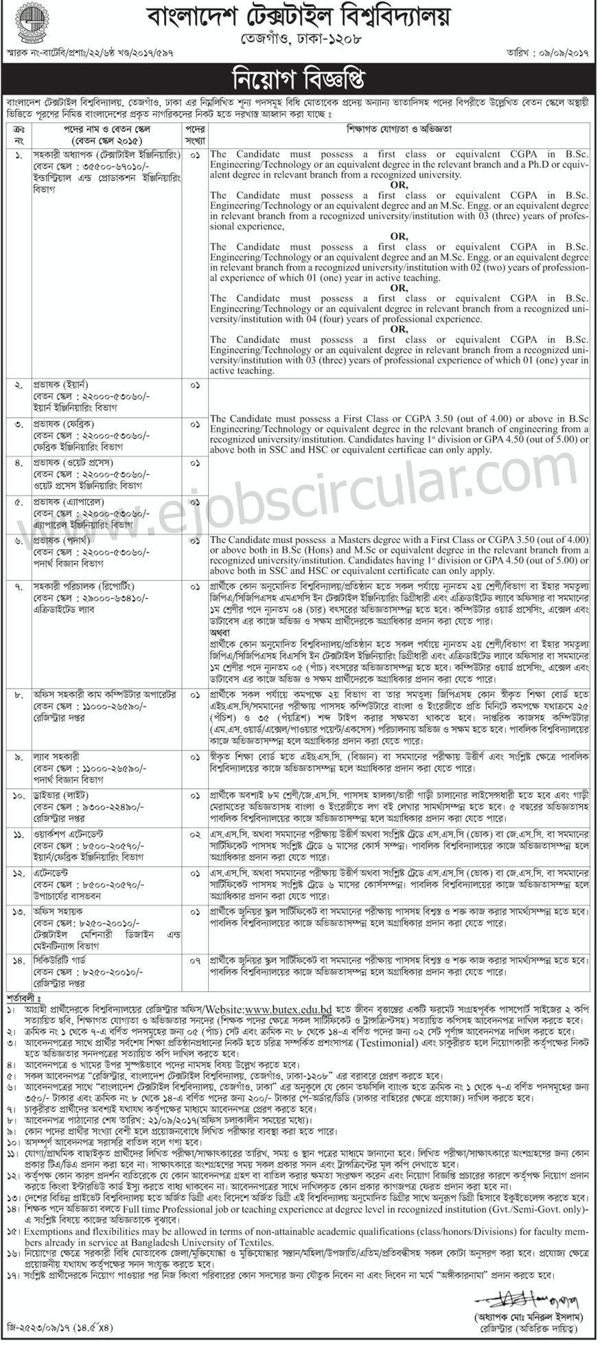 Bangladesh Taxtiles University BUTEX Job Circular 2017