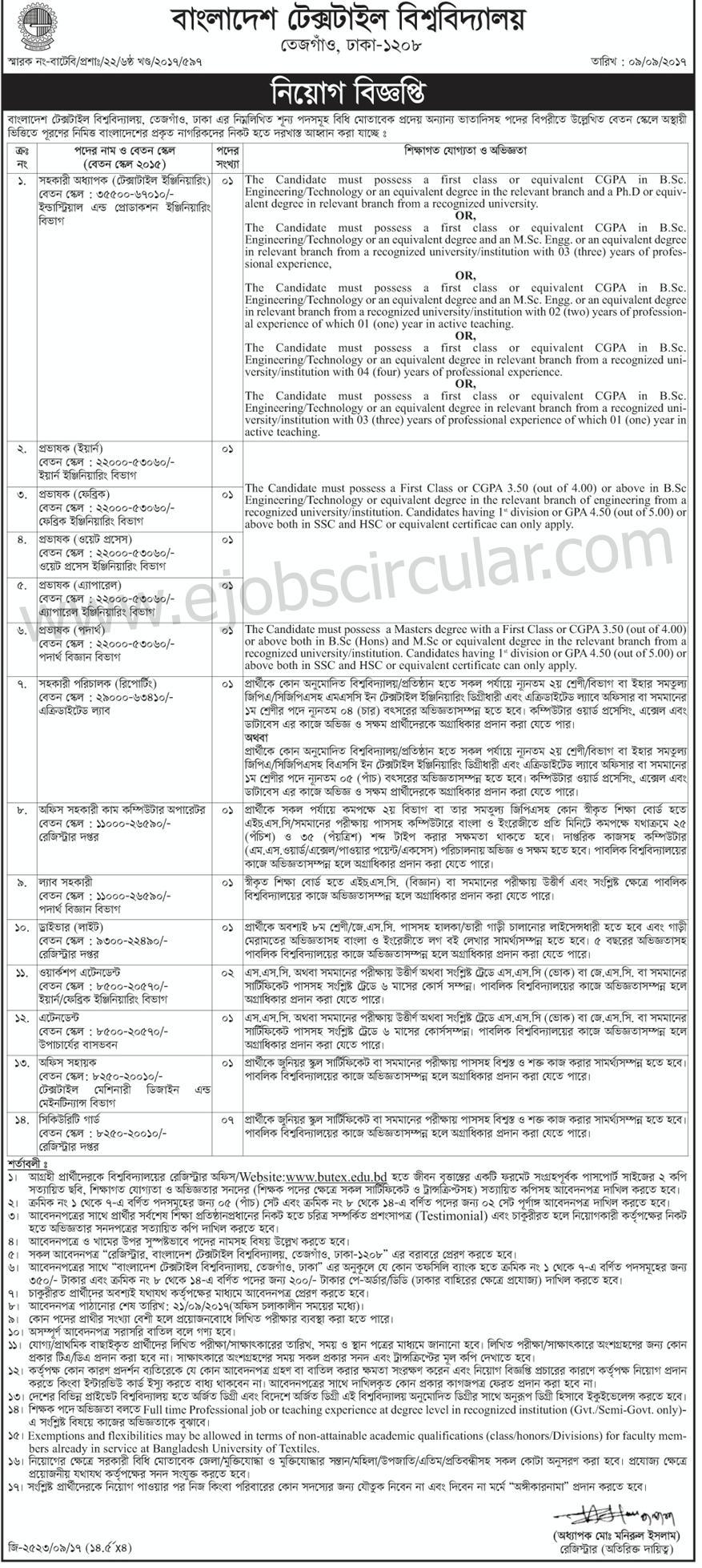 Bangladesh Taxtiles University BUTEX Job Circular 2017