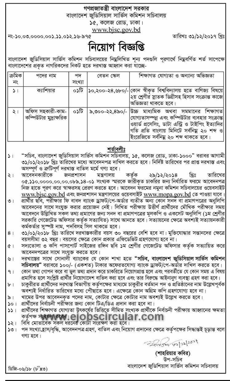 BJSC Job Circular 2018