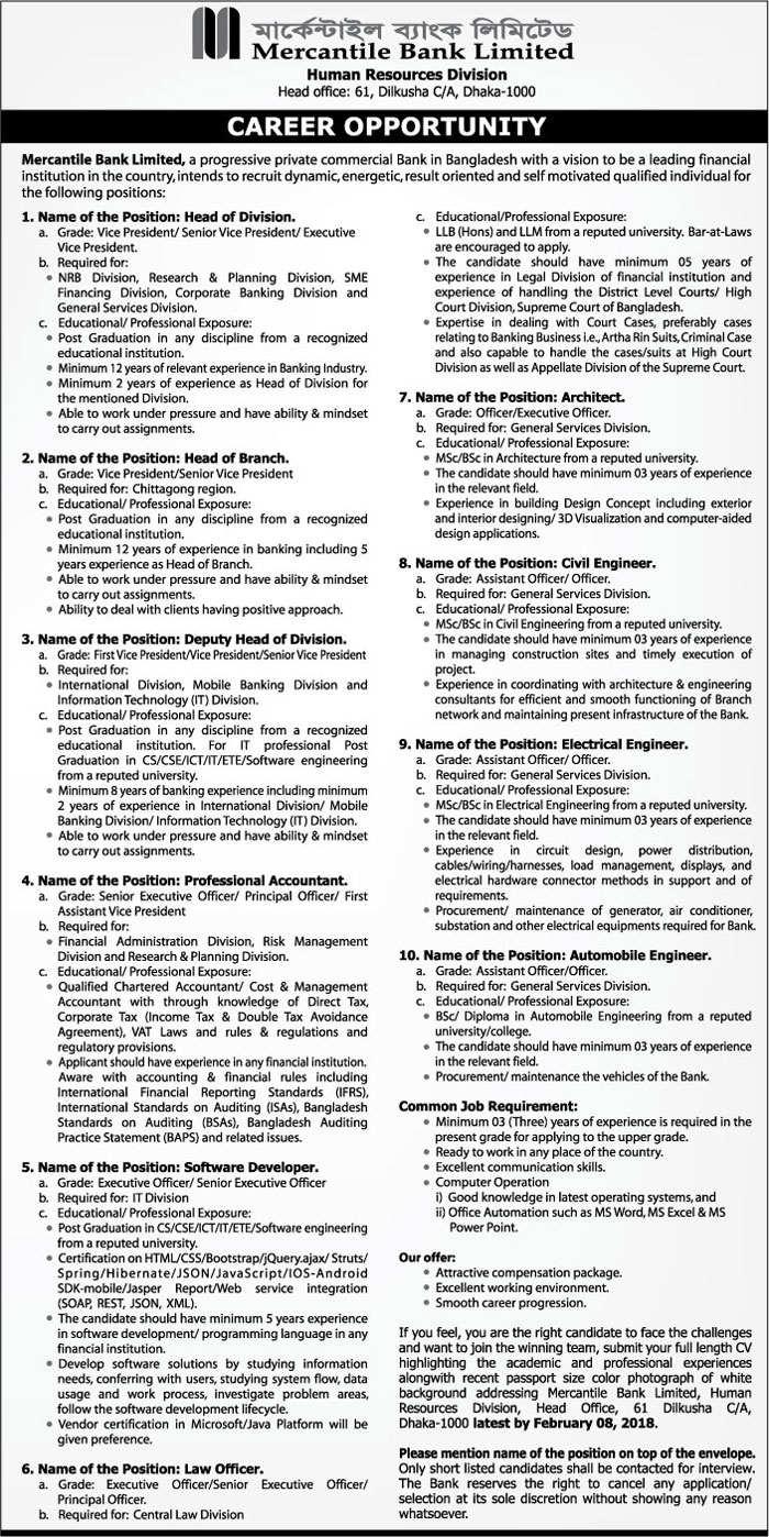 Mercantile Bank Ltd Job circular