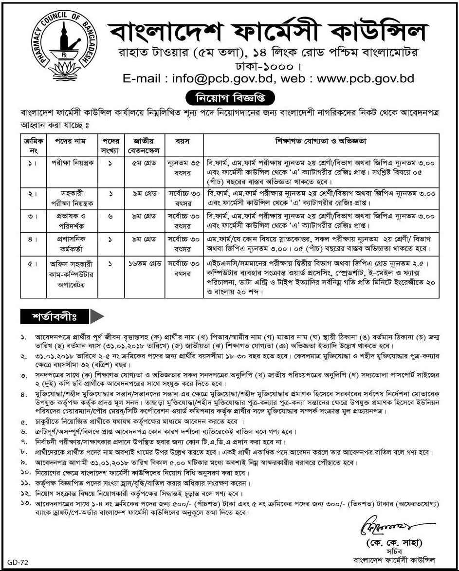 Pharmacy Council of Bangladesh PCB Job Circular 2020
