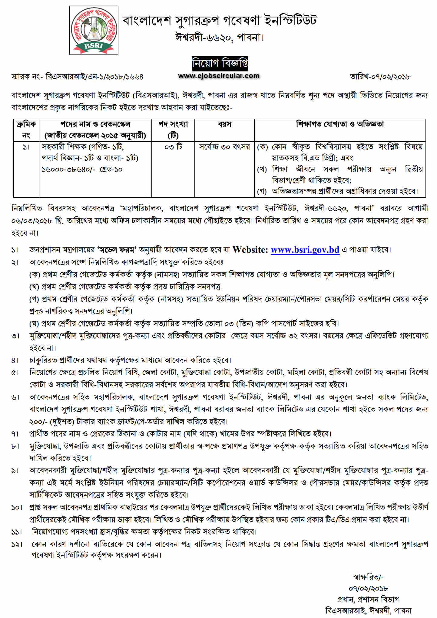 BSRI Job Circular