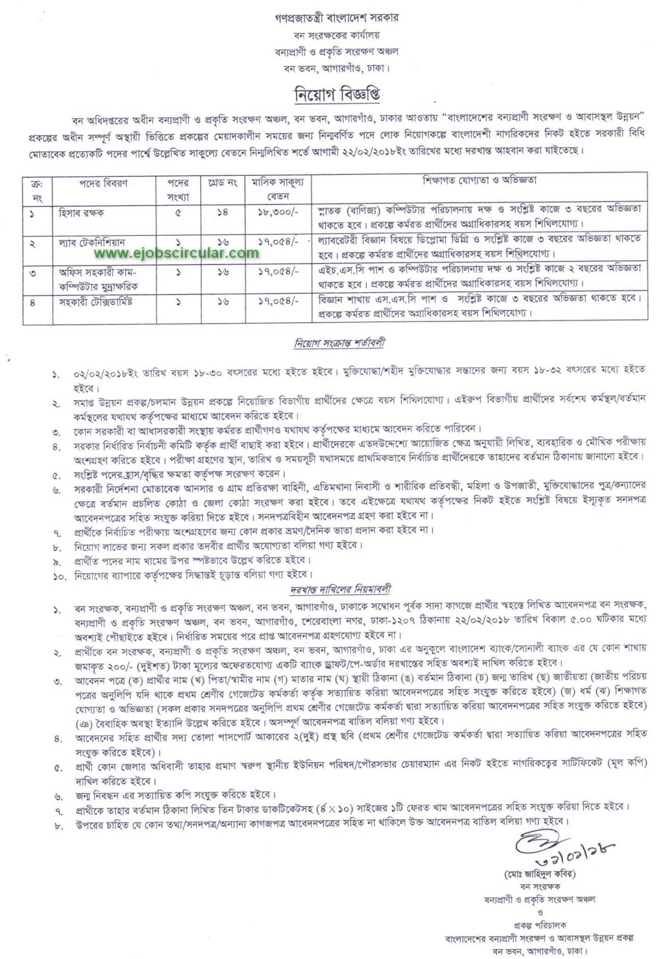Forest Department jobs Circular