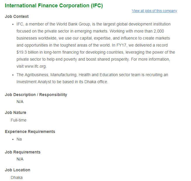 IFC Jobs Circular