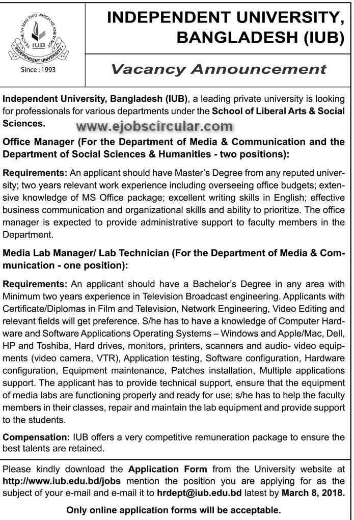 Independent University Bangladesh Jobs circular