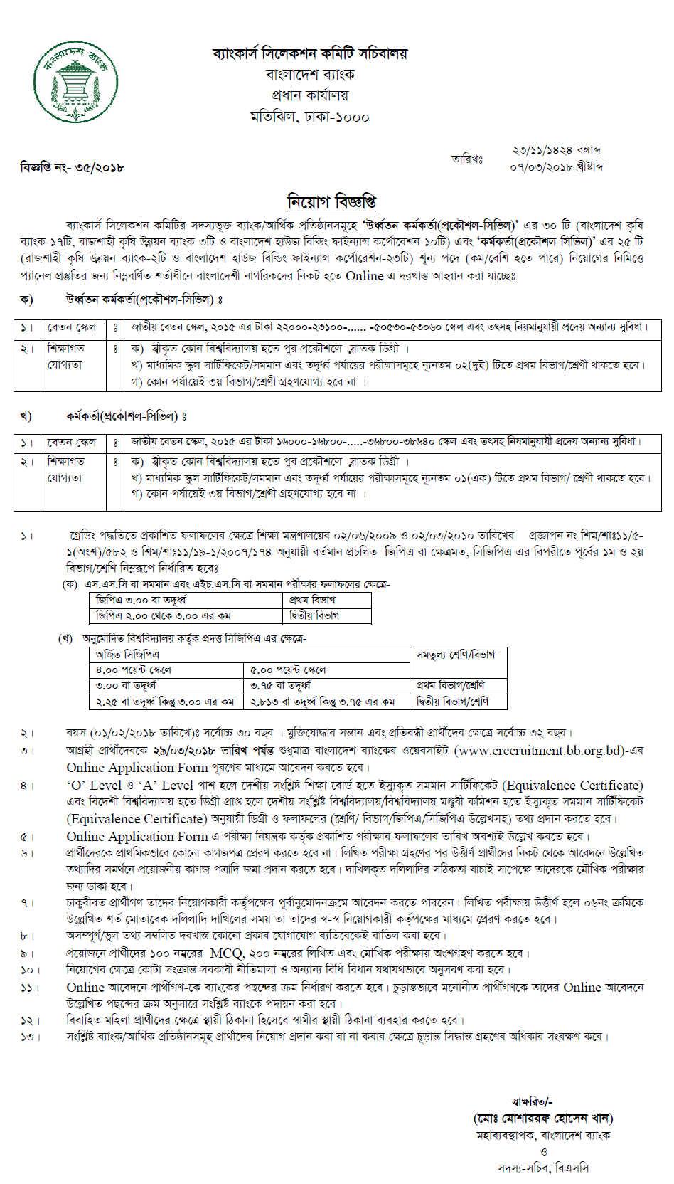 Bangladesh Krishi Bank Jobs Circula