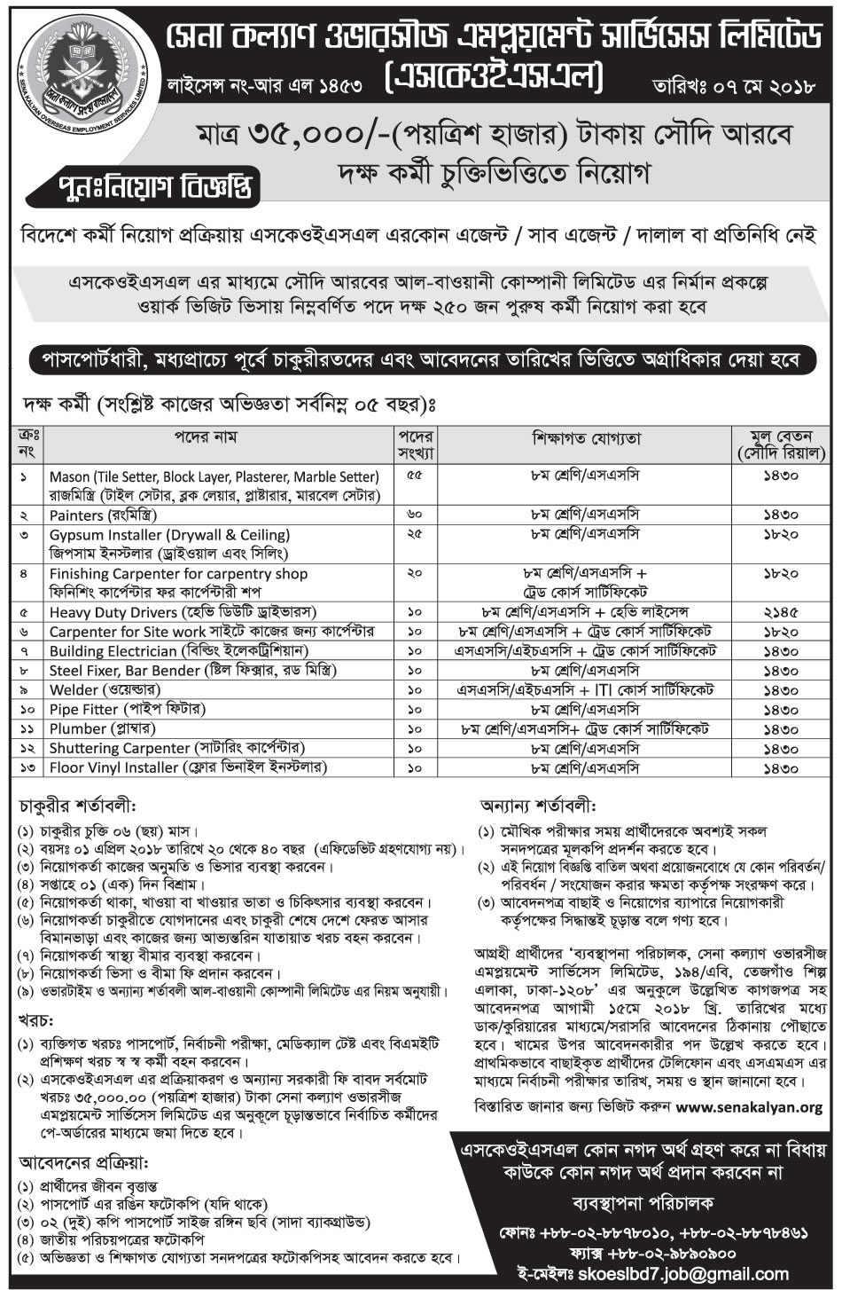 Sena Kalyan Sangstha Job Circular – www.senakalyan.org