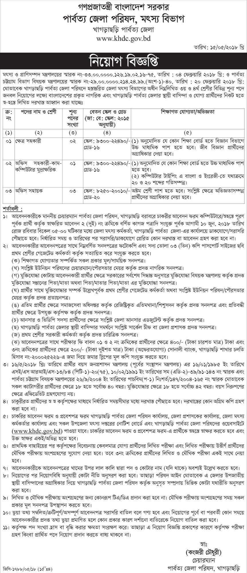 KHDC job circular