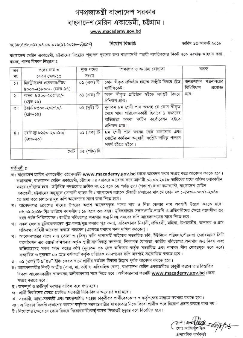 Bangladesh Marine Academy macademy Job circular – www.macademy.gov.bd 1