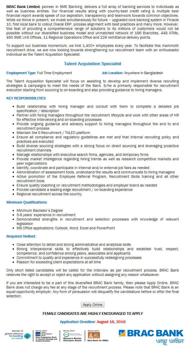 Brac bank Job Circular 2018 Download