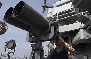 An officer aboard the HMAS Melbourne (FFG 05) ...