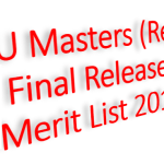 NU Masters (Regular) Final Release Slip Merit List 2018-19