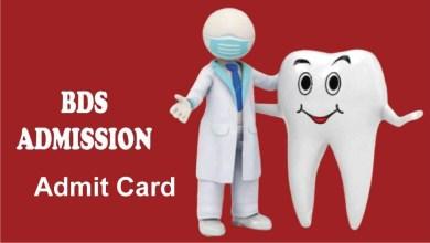 Dental BDS Admit Card