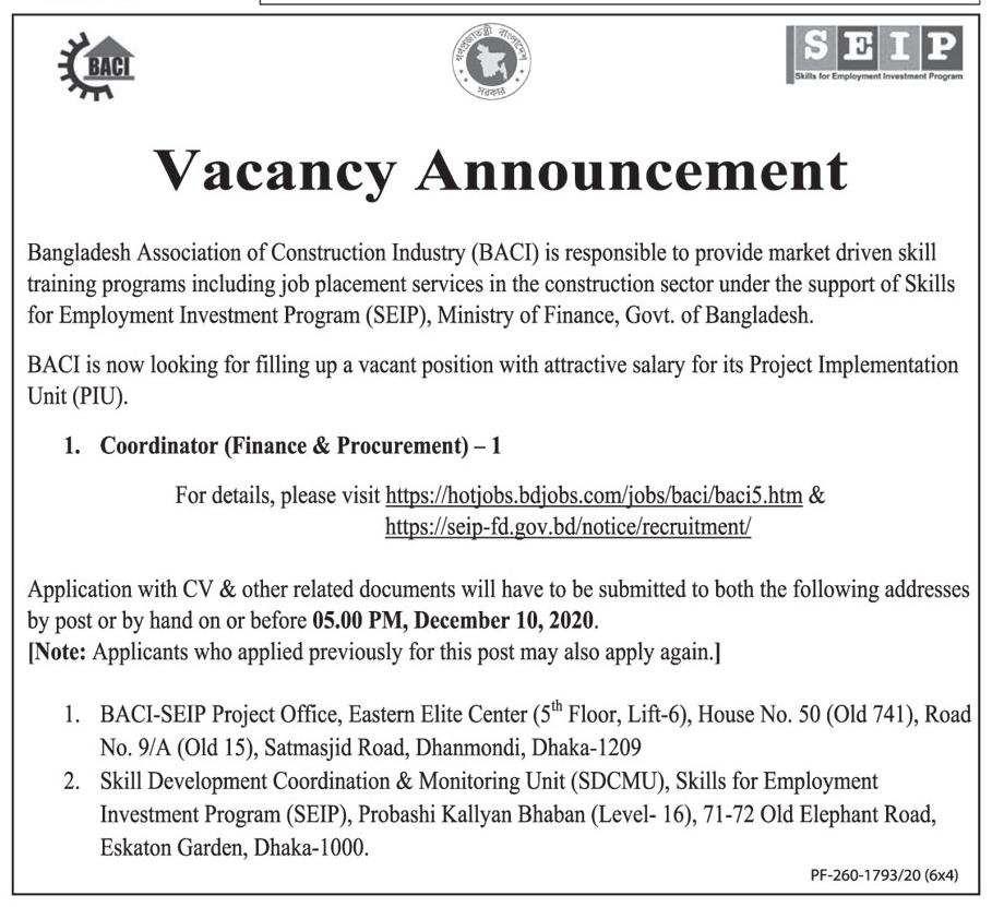 BACI Job Circular 2021