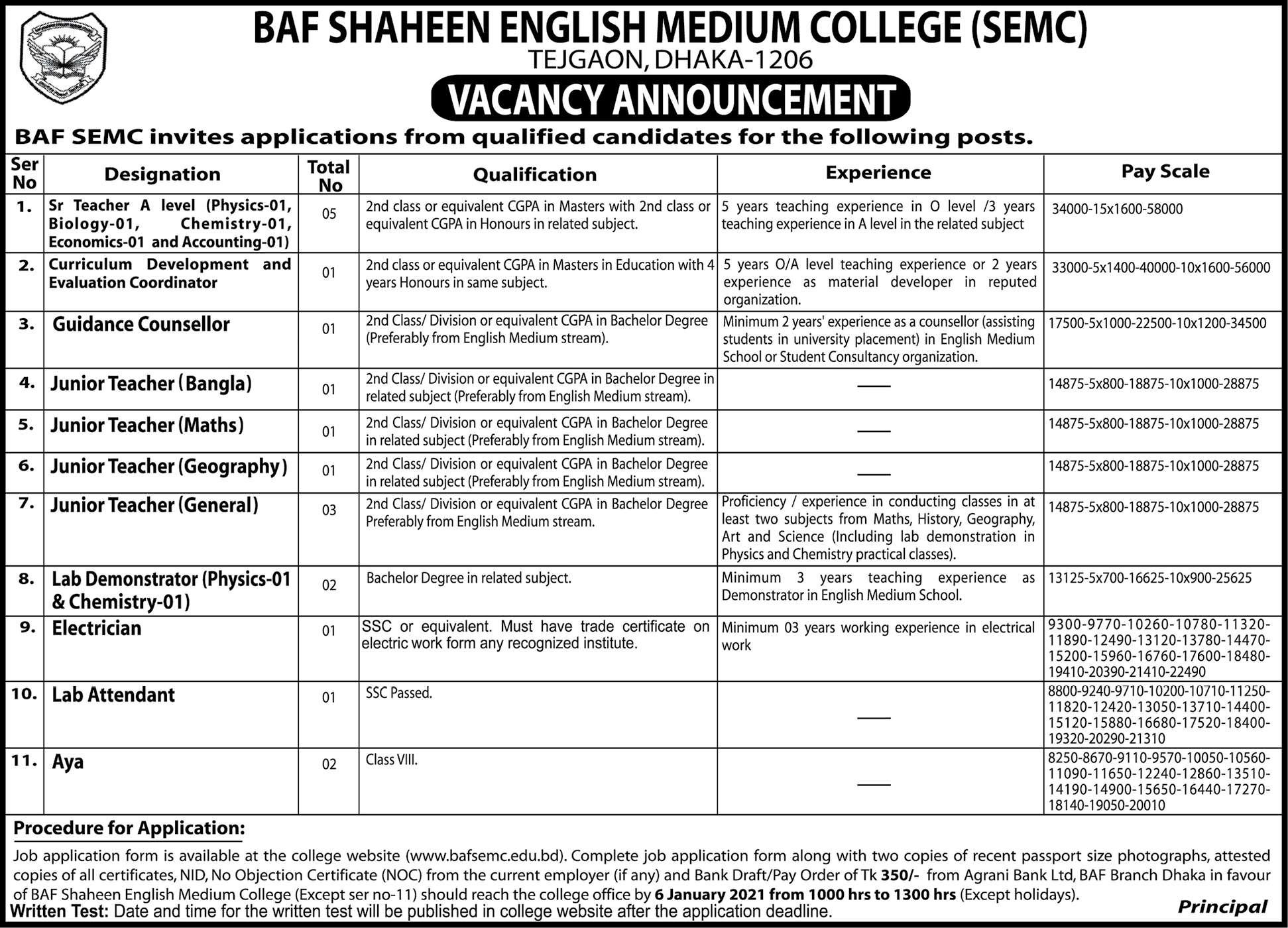 BAF Shaheen College Job Circular