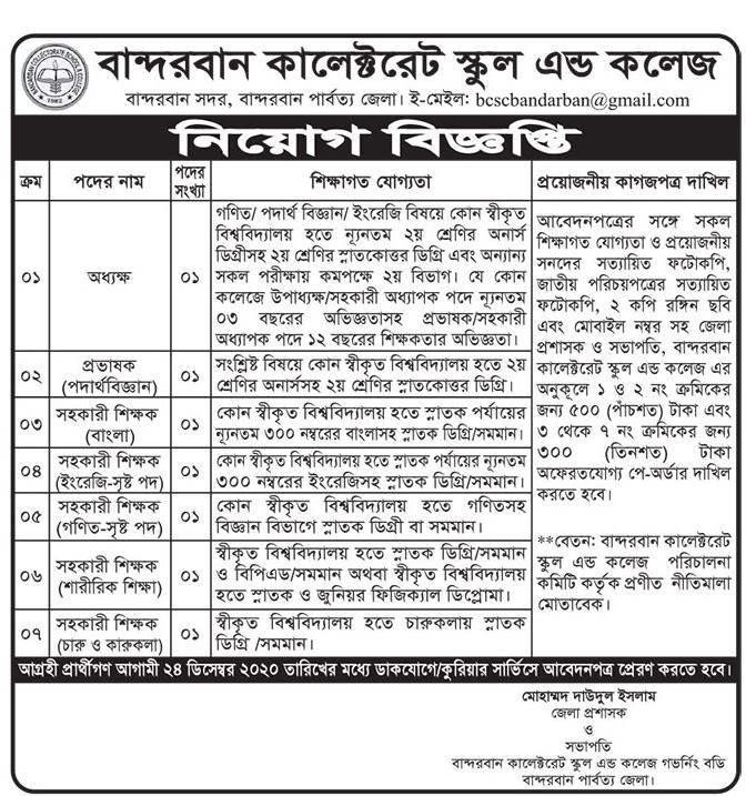 Bandarban Collectorate School and College Job Circular 2020