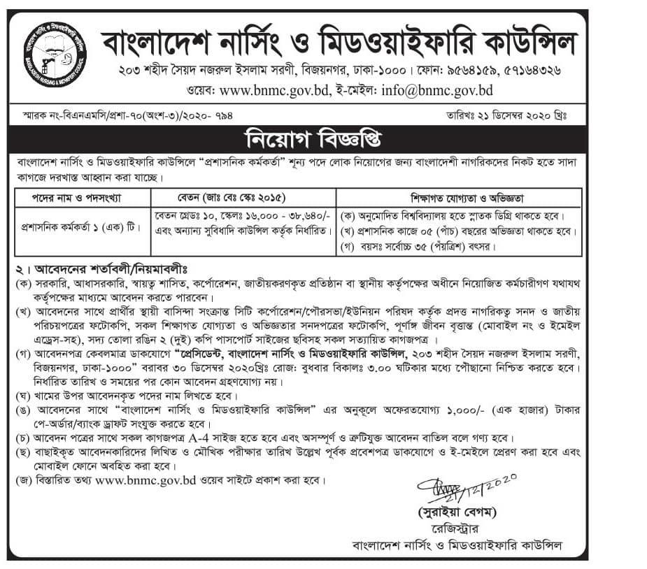 Bangladesh Nursing and Midwifery Council BNMC Job Circular 2021