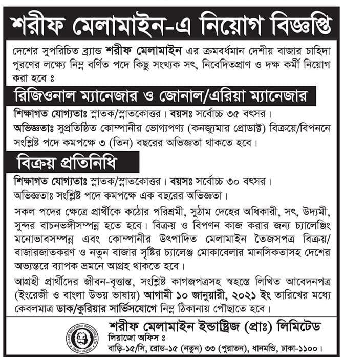 Sharif Melamine Job Circular