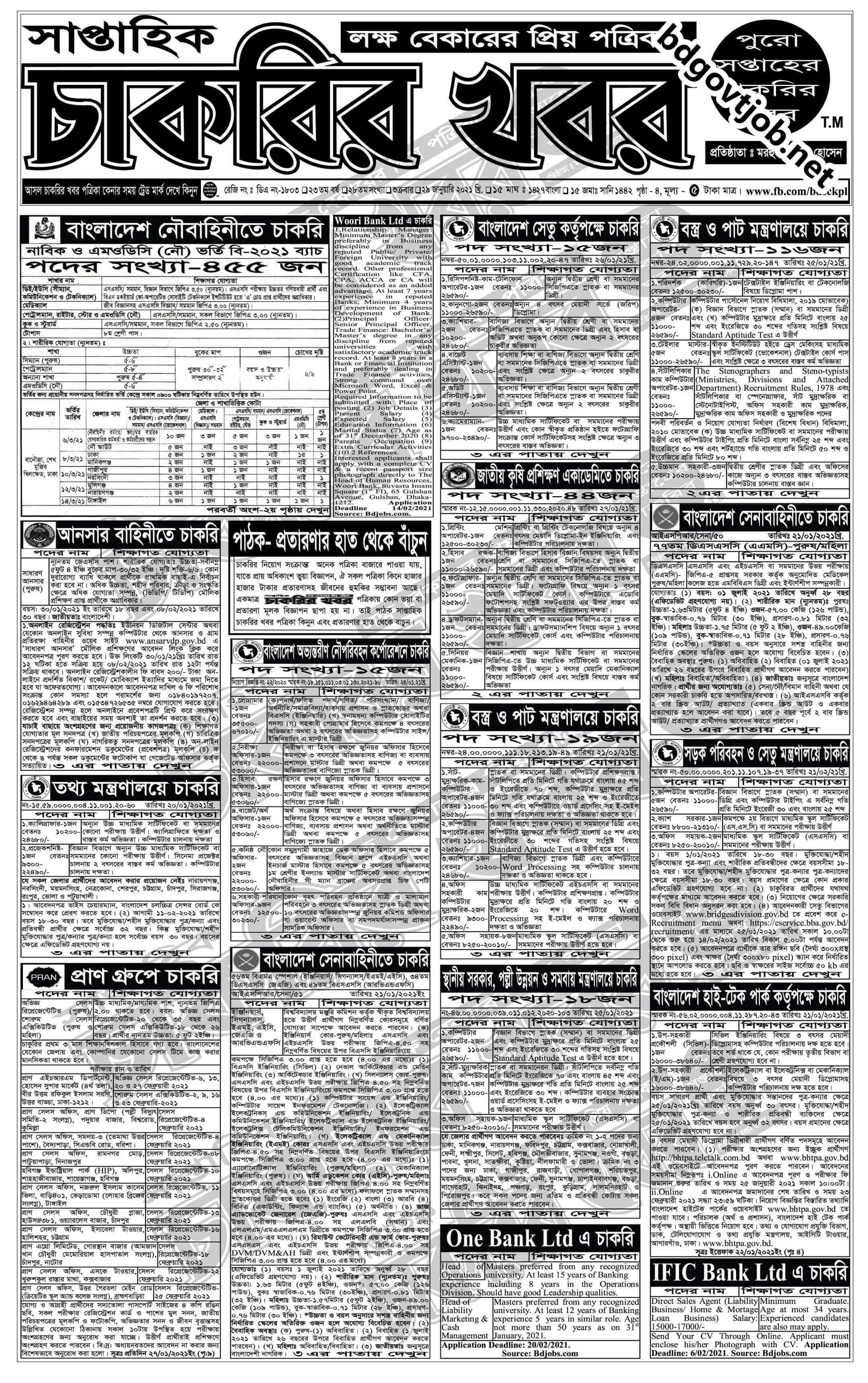 Saptahik Chakrir Khobor 29 January 2021 with PDF download